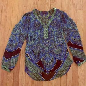 Hale Bob Blue and Green Blouse